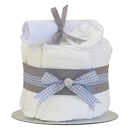 Little Cutie gris único Tier Unisex – tarta de pañales/bebé cesta/Baby Shower