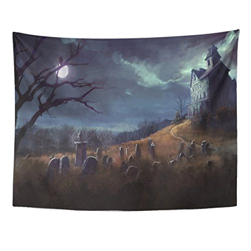 Emvency Tapestry Spooky Halloween with Grave Yard and House at Night Cemetery Home Decor Wall Hanging for Living Room Bedroom Dorm 60x80 Inches ()