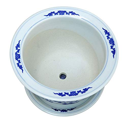 Lyhuapin Blue and White Porcelain Ceramics Jingdezhen Flower pots and Flowers with Chassis Various Specifications Bonsai (Pattern : B, Size : M)
