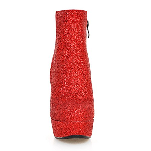 Aiyoumei Womens Glitter Platform Zipper Bootie Tacchi Alti Autunno Inverno Stivaletti Con Paillettes Rosse