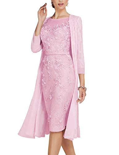 Mother of The Bride Dress Sheath Mother Dress Formal Dress Jacket Pink 18W