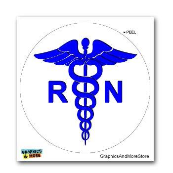 Registered Nurse RN Caduceus Medical Symbol - Window Bumper Locker Sticker