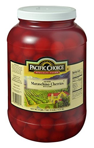 Pacific Choice Gourmet Colossal Maraschino Cherries with Stems (151 oz / 1 Gallon) Jar Bulk Pack Specialty Cherry Cocktail Old Fashioned Manhattan Garnish Borges USA
