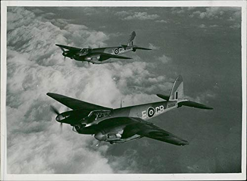 Twin Engine Mosquito (Vintage photo of de Havilland Mosquito Combat aircraft:The RAF super speed.)