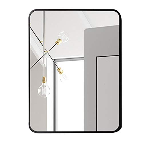 Wall Mirror, Bathroom Mirror, Art Deco Mirror, Vanity Mirror, Rectangular Rounded Corners, Brushed Metal Border, Explosion-Proof Hd Silver Mirror, Black,60x80CM ()