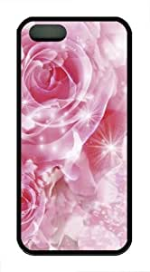 Beautiful Pink Rose TPU Silicone Case Cover for iPhone 5/5S Black