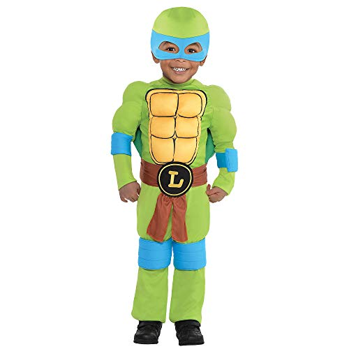 Tortoise Halloween Costume (Amscan Teenage Mutant Ninja Turtles Leonardo Muscle Halloween Costume for Toddler Boys, 3-4T, with Included)