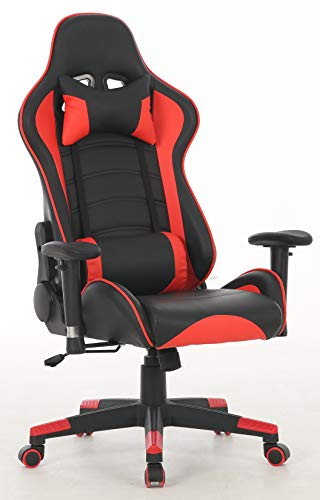 350LB Heavy Duty Ergonomic Racing High Back Swivel Desk Video Gaming Chair -Adjustable Headrest and Lumbar Support,3D Armrest Recliner Napping Chair(Red/Black