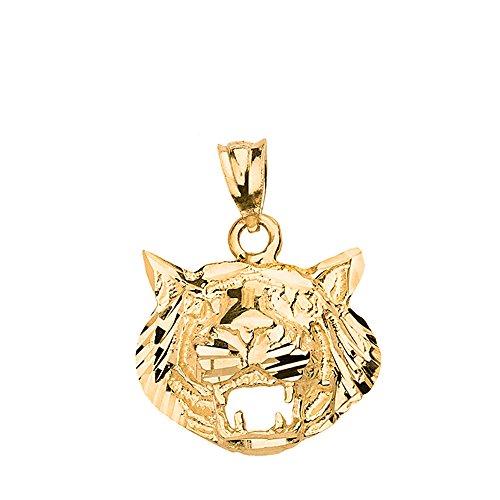 - Textured Roaring Tiger Head Charm Pendant (10k Yellow-Gold)