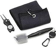 CoiTek Golf Towel Kit with Golf Brush Tools Stainless Steel Foldable Divot Repair Tool, Microfiber Waffle Golf