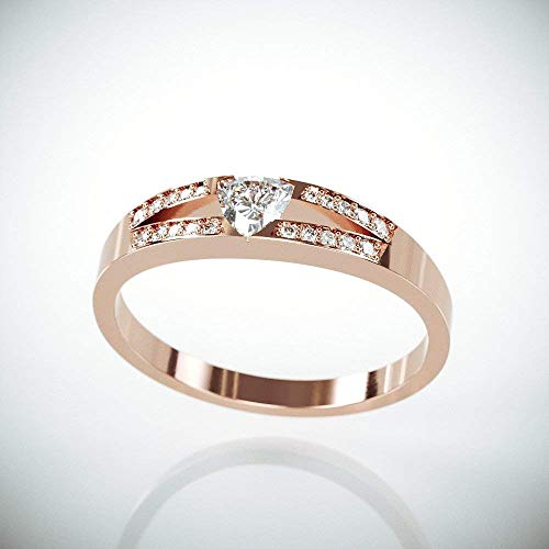 (| 14k Rose Gold Trillion Cut Diamond Engagement Ring | Handmade solid 14k Rose gold ring set with trillion cut and brilliant diamonds)