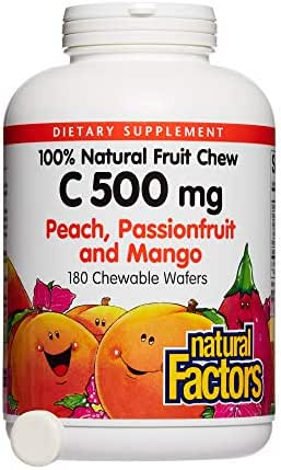 Natural Factors, Kids' Chewable Vitamin C 500 mg, Natural Fruit Support for Healthy Bones and Cartilage, Peach, Passionfruit and Mango, 180 wafers (180 servings)