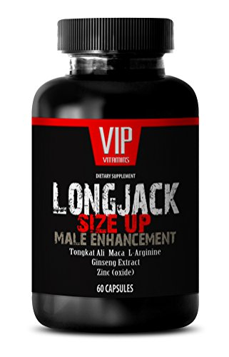 VIP VITAMINS Testosterone booster for men best seller - LONGJACK SIZE UP 2170Mg - MALE ENHANCEMENT SUPPLEMENT (With Maca, Tongkat Ali, L-Arginine, Ginseng and Zinc) - 1 Bottle 60 Capsules