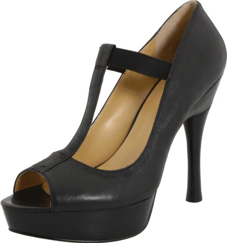 Nine West T-strap Pumps - Nine West Women's Glamorous, Black Multi Leather, 9.5 M US
