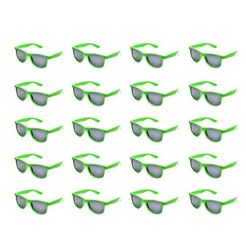 20 Packs Wholesale Adults and Kids Neon Colors 80's Retro Style Square Party Favors Sunglasses (Adults ()