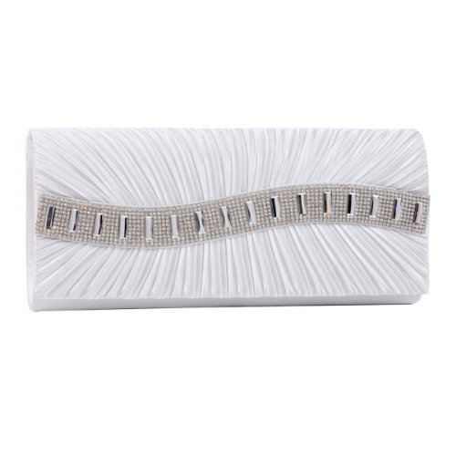 Womens white Pleated Elegant Damara Clutch bags Evening Front Stone aCqCvOw