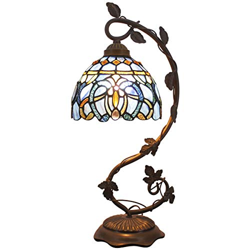 - Tiffany Lamps Stained Glass Table Desk Reading Lamp Crystal Bead Sea Blue Dragonfly Style Shade W8H22 Inch for Living Room Bedroom Bookcase Dresser Coffee Table S147 WERFACTORY (S558)