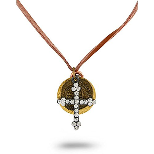 Studded Coin (Fashion Necklace - Antique Pendant Crystal Studded Cross Roman Old Stamp Coin)