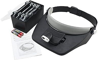 Profi 3 LED Licht Stirnlupe Kopflupe Lupenbrille Brillenlupe mit 5 Vergrößerungs