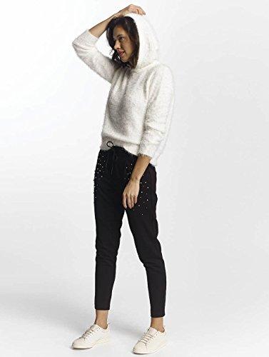 Nero Pullover Donna Cappuccio Con Bianco Only IIwPHxCq