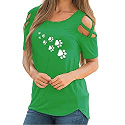 Blouses For Womens Foruu Summer Print Strappy Cold Shoulder Comfort T Shirt Top S Green2
