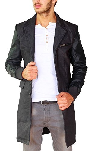Young & Rich Herren Mantel Trenchcoat Jacke Kurzmantel double-layer mit Kunstleder Ärmel schwarz-anthra