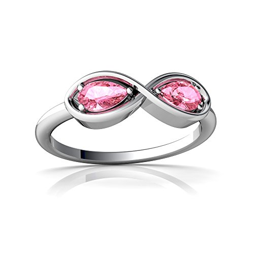 14kt White Gold Lab Pink Sapphire 5x3mm Pear Infinity Ring - Size 9 ()