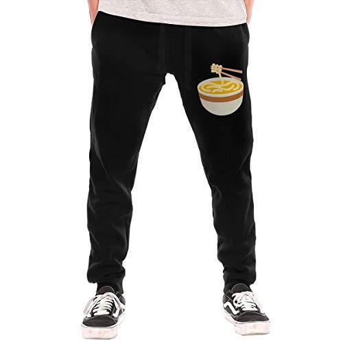 BibiQQgait Men's Jogger Sweatpants Noodle Soup Middle Rise Fleece Pants Black