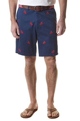 The Fine Swine Castaway Clothing Embroidered Critter Shorts (46, Navy with Red ()