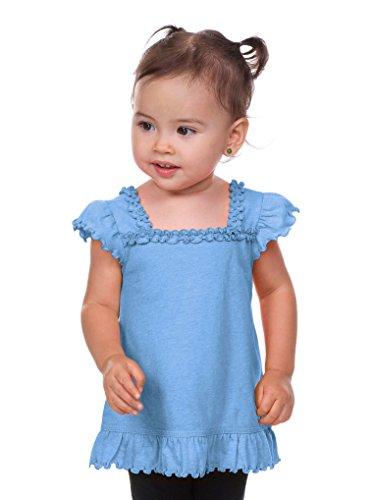 Kavio! Infants Sheer Jersey Ruffle U Neck Flutter Sleeve Top Azure 24M