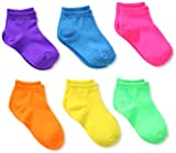 Jefferies Socks Little Girls'  Low Cut Socks (Pack of 6), Neon Solid, Toddler