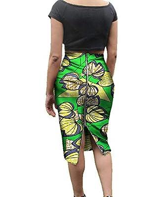 Runcati Womens African Print Skirts Bodycon Midi High Waist Zipper Knee Length Pencil Slim Fit Dresses