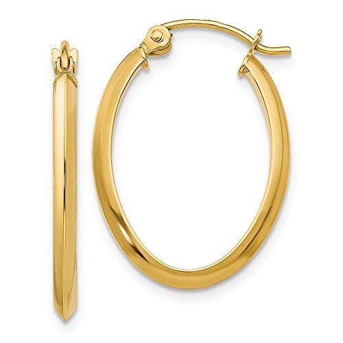 2mm x 24mm Polished 14k Yellow Gold Knife Edge Oval Hoop Earrings