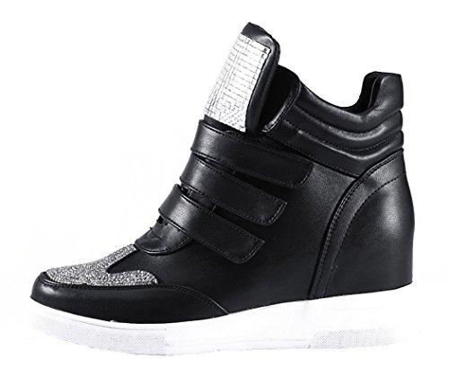 Laikakingdom Magic Tape Closure Fashionable Women's Increased Within Shoes(7.5 B(M) US, Black)