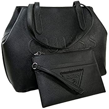 New Guess Logo Purse Satchel Hand Bag Tote   Large Wristlet 2 Piece Set  Black 0df90ac295309
