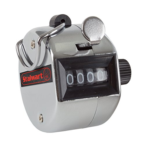 Hand Tally Counter- 4 Digit Metal Handheld Clicker Lap Counter By Stalwart (For Sporting Events, Stadiums, Traffic, Restaurants, Market Research) ()