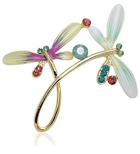 Akianna Hand Painted Swarovski Element Dragonfly Brooch Pin Pastel Green ()