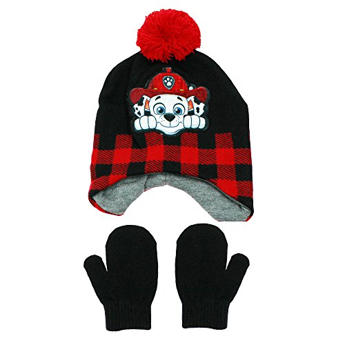 Nickelodeon Paw Patrol Marshall Peruvian Winter Hat and Mittens Toddler 2T-4T Black