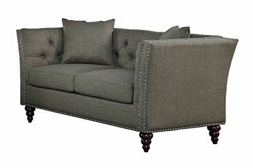 - Homelegance Marceau Tuxedo Style Loveseat with Flared Arm and Double Nailhead Accent, Button Tufted with Two Toss Pillows, Gray