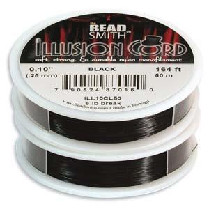 Beadsmith Illusion Monofilament Black Bead Cord .010 In 6 lb 164ft (Monofilament Cord)