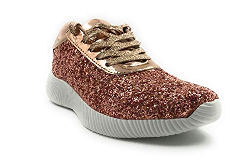Forever Link Women's Light Weight Glitter Lace UP Fashion Sneaker Shoes Rose Gold 10 M US
