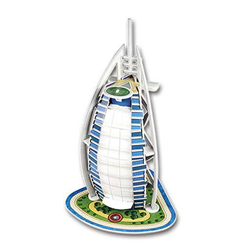 Hqgoods 3D Diy Paper Assembling Jigsaw Puzzles Model Toy And Hobby For Kids Adult   17 Piece  Burj Al Arab