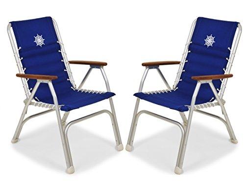 FORMA Marine Set of 2 High Back Deck Chairs, Boat Chairs, Folding, Anodized, Aluminium, Blue, Model M150B (Aluminium Chairs Deck)