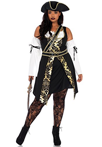 Leg Avenue Women's Plus Size Black Pirate Costume, Gold, 1X / 2X