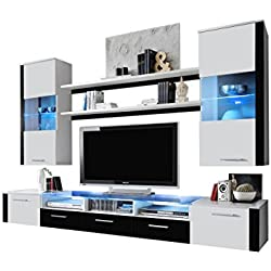MEBLE FURNITURE & RUGS Wall Unit Modern Entertainment Center with LED Lights Fresh (White/Black)