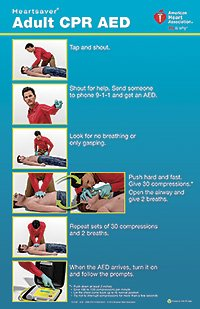 Heartsaver Adult CPR AED Poster 15-1026