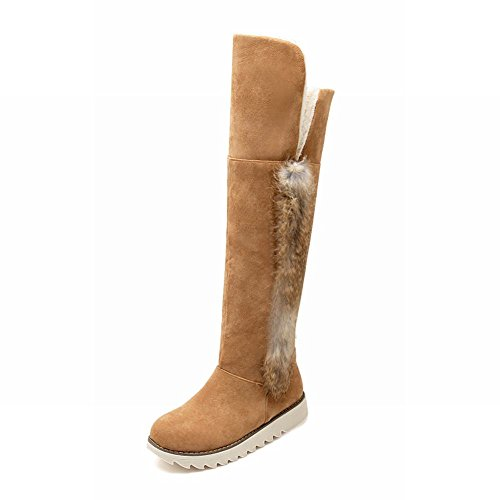 Carolbar Womens Fashion Warm Winter Faux Fur Cute Comfort Eleganza Alto Snow Boots Giallo