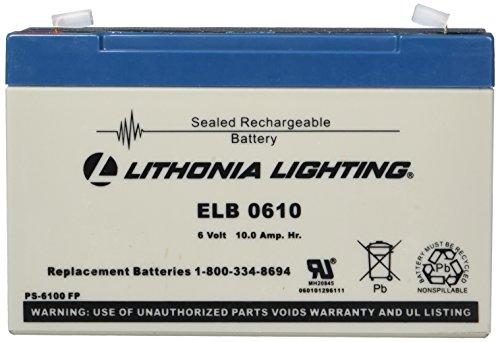 Emergency Flush - Lithonia Lighting ELB 0610 6V Emergency Replacement Battery