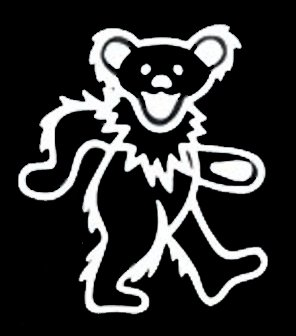 NI964 Jerry Bear Inspired Decal Sticker | 5.5-Inches By 4.7-Inches | Premium Quality White Vinyl (Greatful Dead Bear)