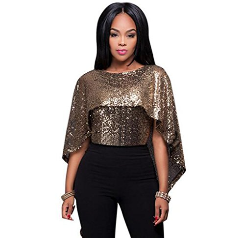 Womens Sparkling Sequin Cape Backless Party Club Top Tippet (M,Black - Gold Black Top And